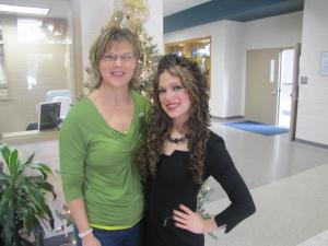 Victoria stands next to Effingham Middle School Counselor, Lynn Bethune